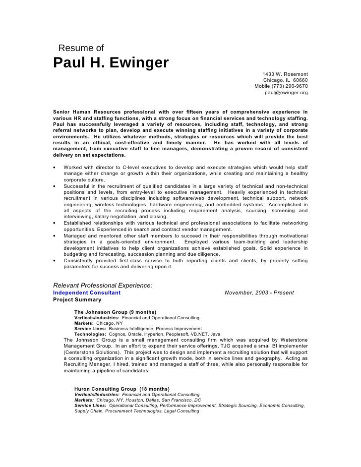 Resume of Paul H. Ewinger                                                                                             1433...