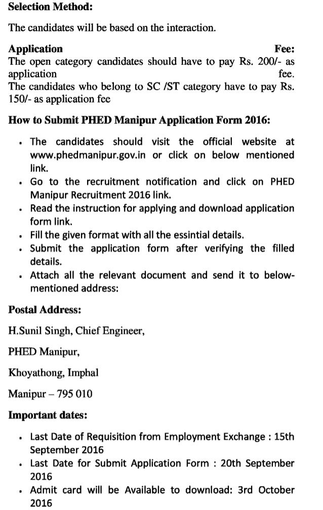 Phed manipur govt job recruitment 2016 latest assistant engine operator and technical jugali posts