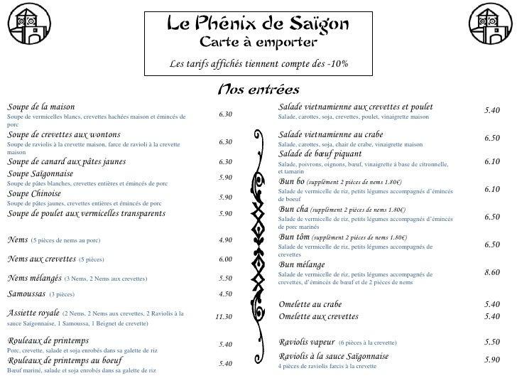 Le Phénix de Saïgon                                                                         Carte à emporter              ...