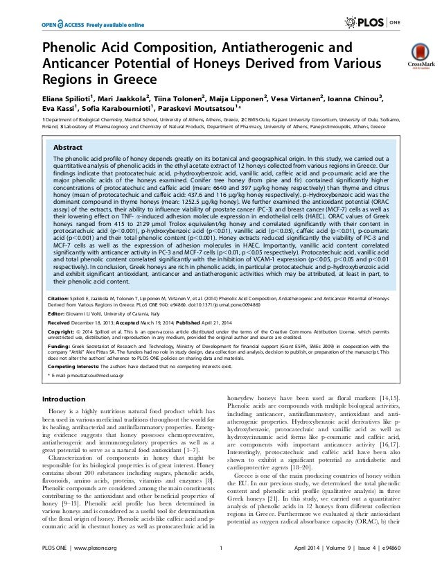Greek Honeys Exhibit Phenolic Acids with Antiatherogenic, Anticancer and Antioxidant Properties