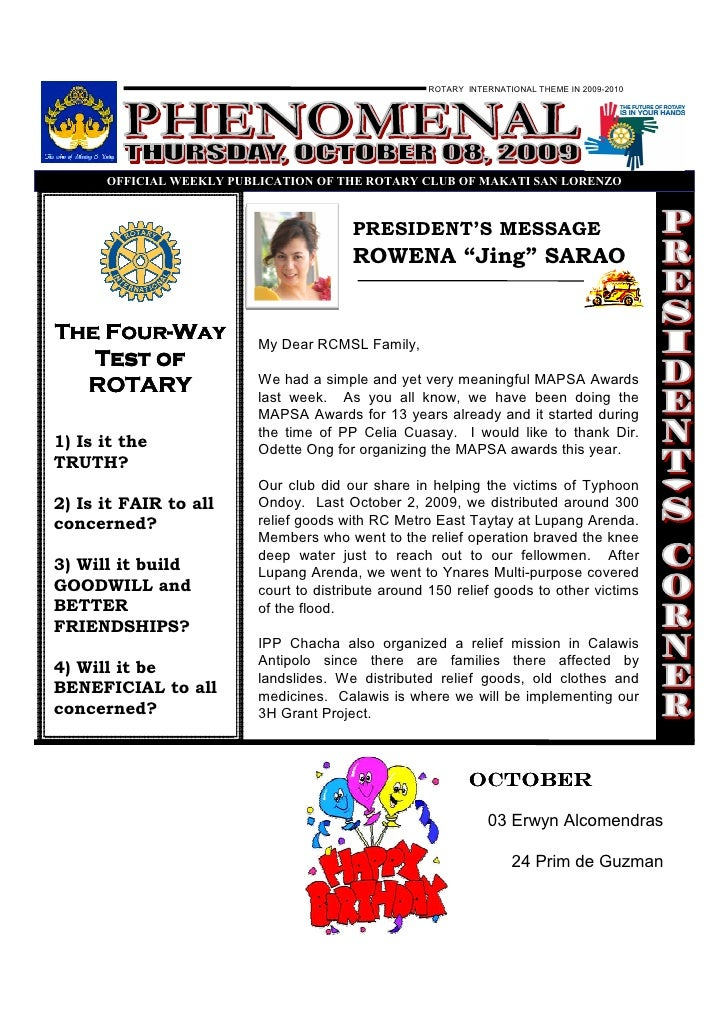 ROTARY INTERNATIONAL THEME IN 2009-2010           OFFICIAL WEEKLY PUBLICATIO OF THE ROTARY CLUB OF MAKATI SA LORE ZO      ...