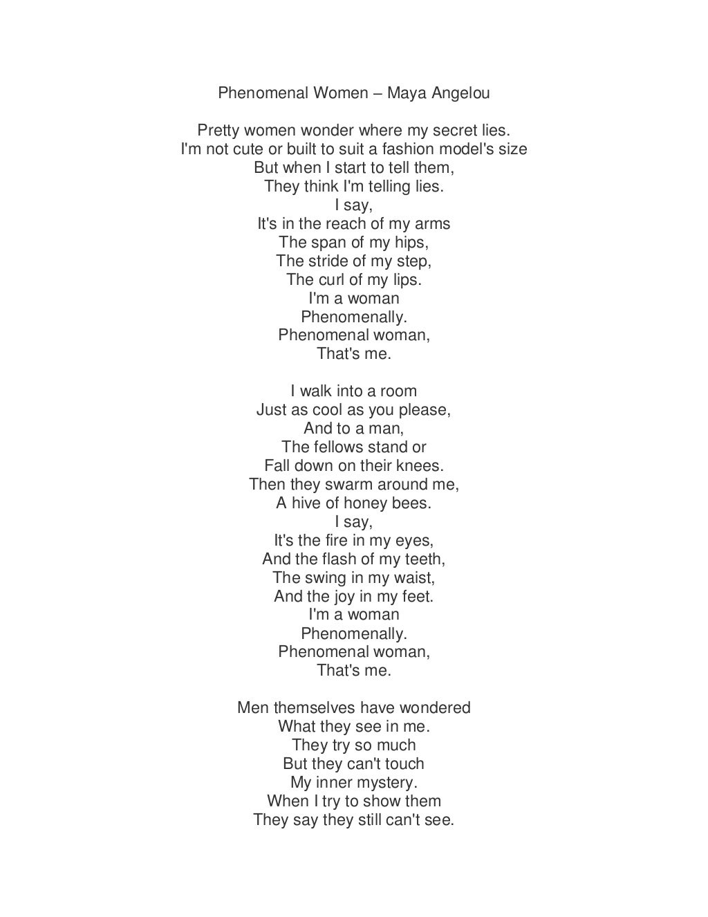 an analysis of the poem phenomenal women by maya angelou