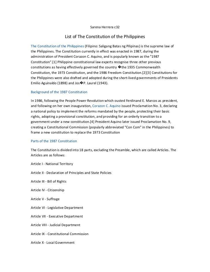 Sarena Herrera c32                           List of The Constitution of the PhilippinesThe Constitution of the Philippine...