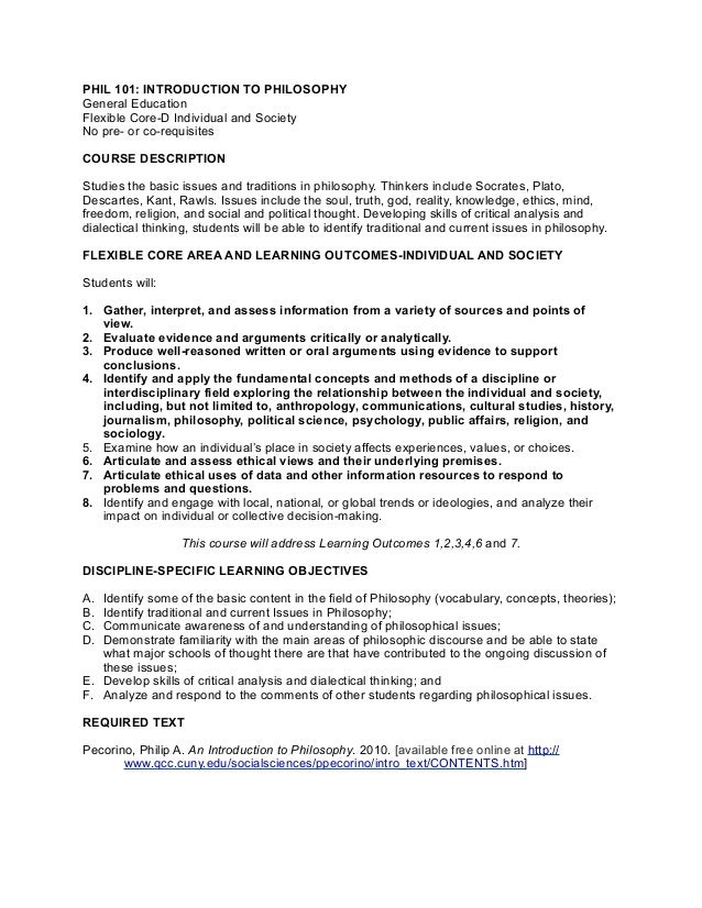 Phil101 Syllabus for CUNY Pathways