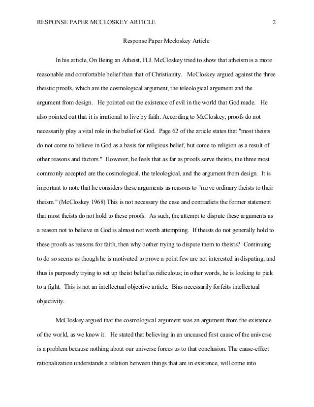response paper essay
