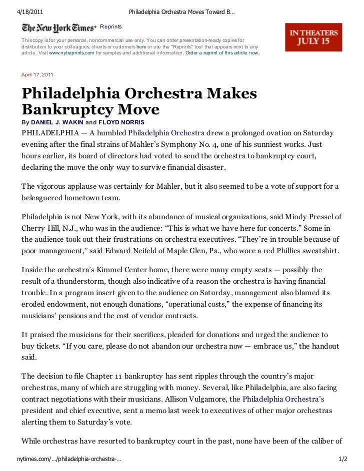 Philadelphia Orchestra Moves Toward Bankruptcy Filing