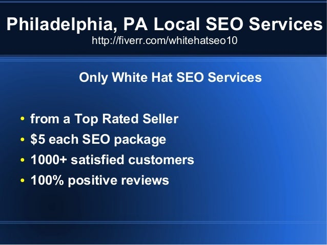 Philadelphia, PA Local SEO Services http://fiverr.com/whitehatseo10  Only White Hat SEO Services ●  from a Top Rated Selle...