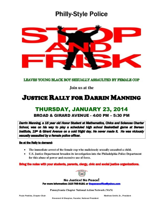 Philly-Style Police  LEAVES YOUNG BLACK BOY SEXUALLY ASSAULTED BY FEMALE COP  Join us at the  JUSTICE RALLY FOR DARRIN MAN...