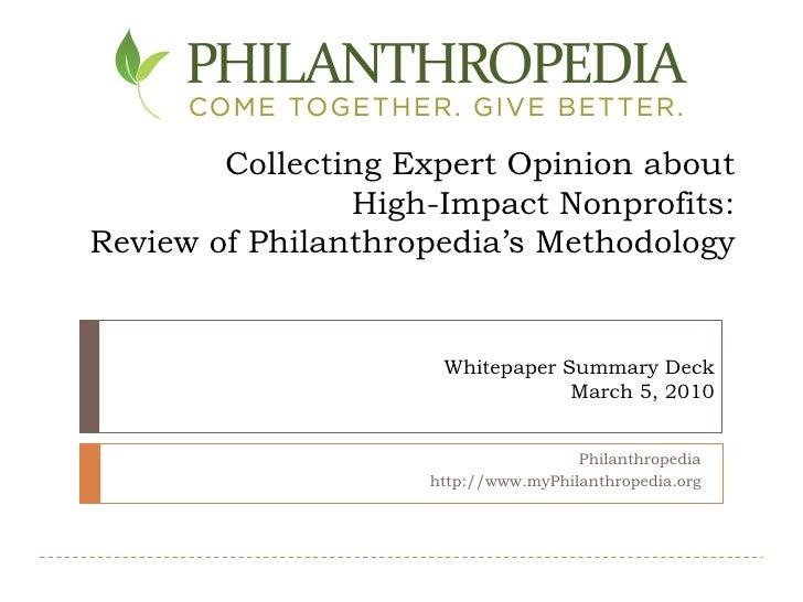 Philanthropedia Whitepaper Summary Deck Final