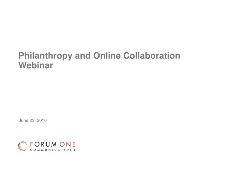Philanthropy and Online Collaboration Webinar