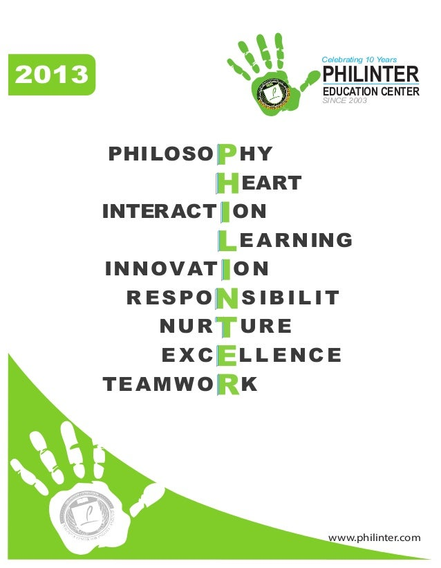 www.philinter.com 2013 PHILOSO HY EART INTERACT ON EARNING INNOVAT ON R ESPO S IBILIT NUR URE E X C L L ENCE TEAMWO K PHIL...