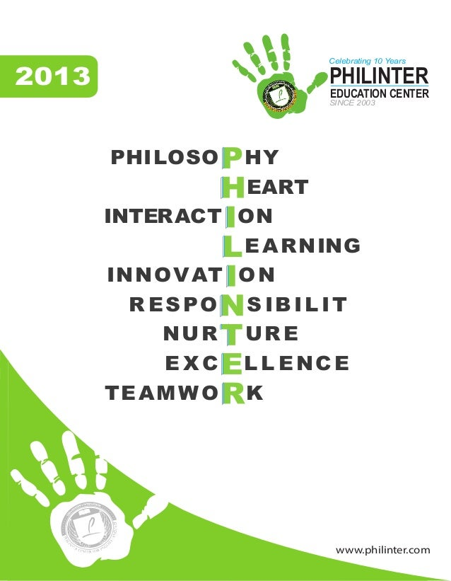 www.philinter.com 2013 PHILOSO HY EART INTERACT ON EARNING INNOVAT ON R ESPO S IBILIT NUR URE E X C L L ENCE TEAMWO K PHIL...