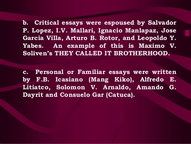 Essay of life and success by zoilo galang?