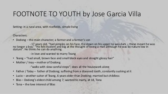 footnote to youth by jose garcia villa characters