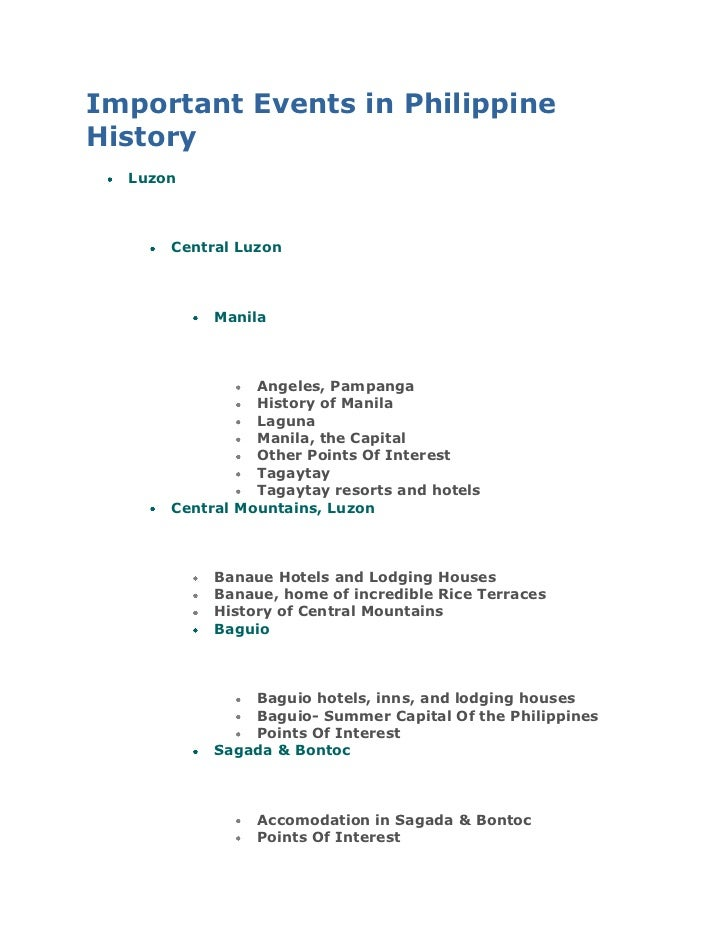 """Important Events in Philippine History<br /> HYPERLINK """"http://www.camperspoint.com/spip.php?rubrique20"""" o """""""" Luzon<br /> ..."""