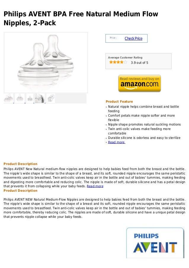 Philips AVENT BPA Free Natural Medium FlowNipples, 2-Pack                                                                 ...
