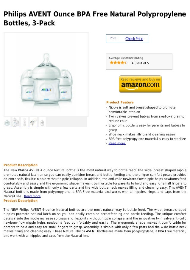 Philips avent ounce bpa free natural polypropylene bottles, 3 pack