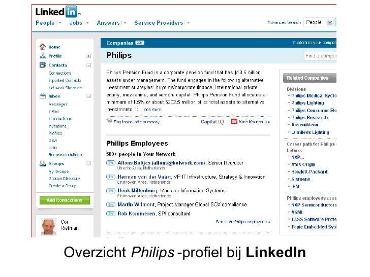 Philips-profiel in LinkedIn