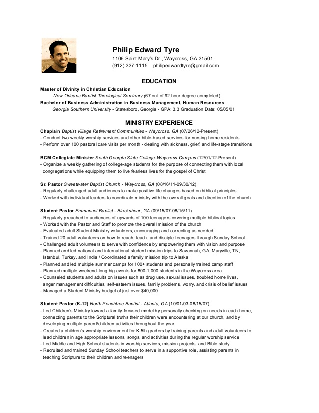 Resume Sample For Youth Pastor Krys Tk