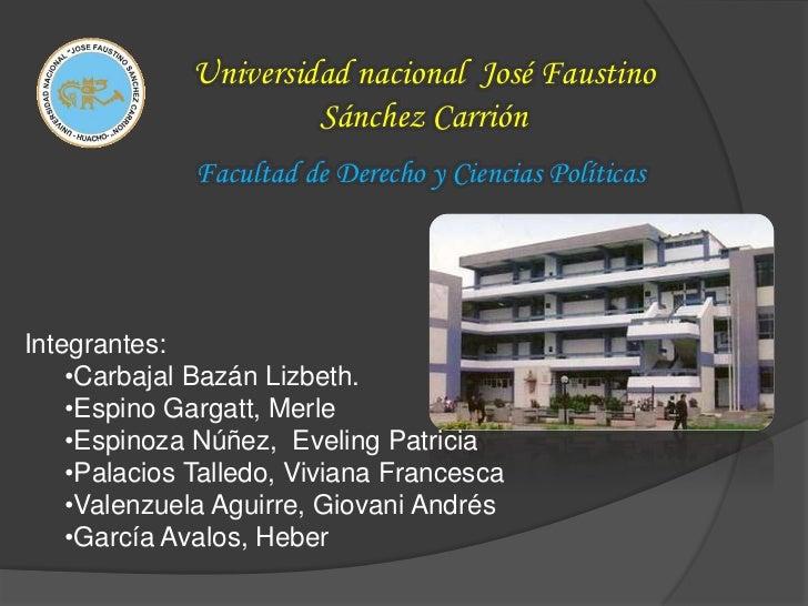 Universidad nacional José Faustino                      Sánchez Carrión              Facultad de Derecho y Ciencias Políti...