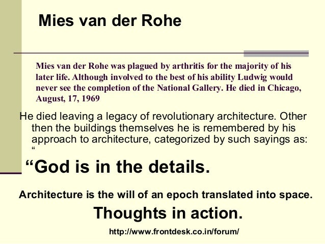 Philosophies of mies vander rohe for Seagram building ppt