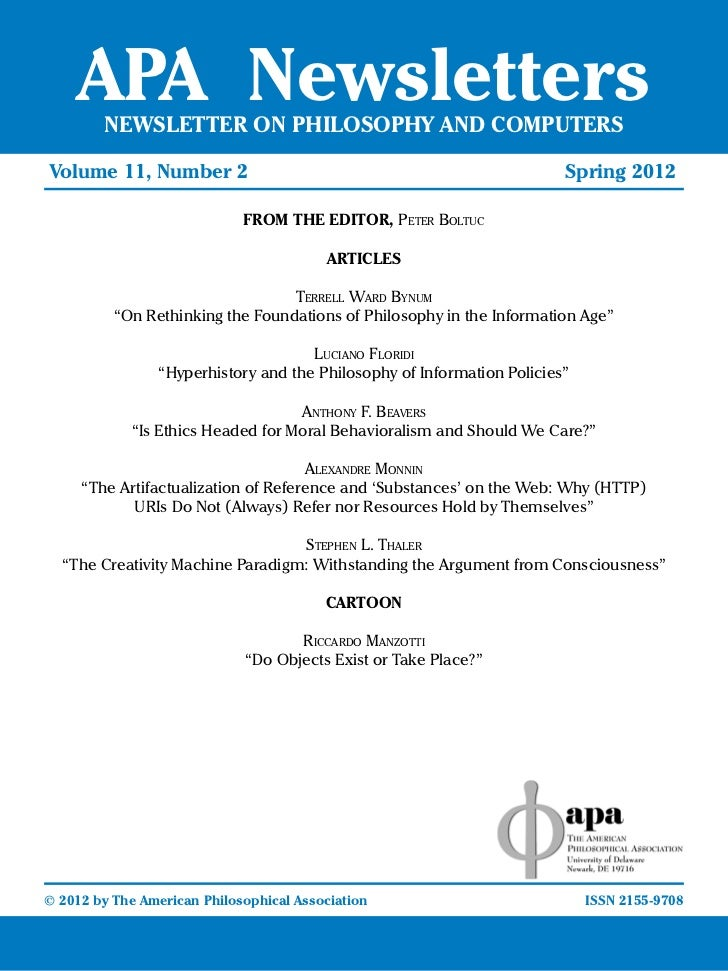 APA Newsletters       NEWSLETTER ON PHILOSOPHY AND COMPUTERSVolume 11, Number 2				                         	       		    ...