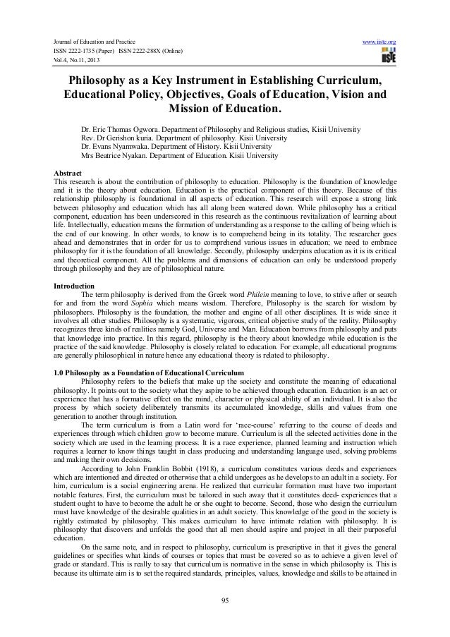 Journal of Education and Practice www.iiste.org ISSN 2222-1735 (Paper) ISSN 2222-288X (Online) Vol.4, No.11, 2013 95 Philo...