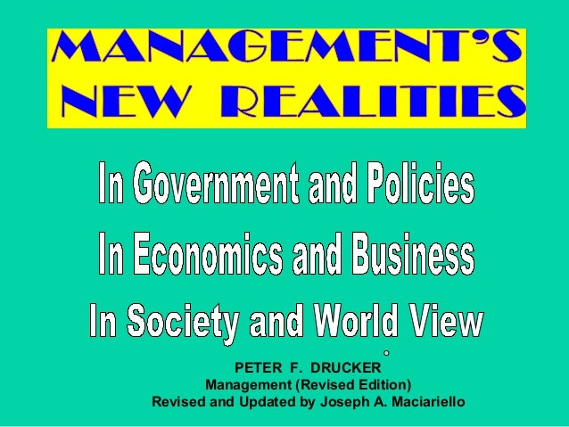 PETER F. DRUCKER       Management (Revised Edition)Revised and Updated by Joseph A. Maciariello