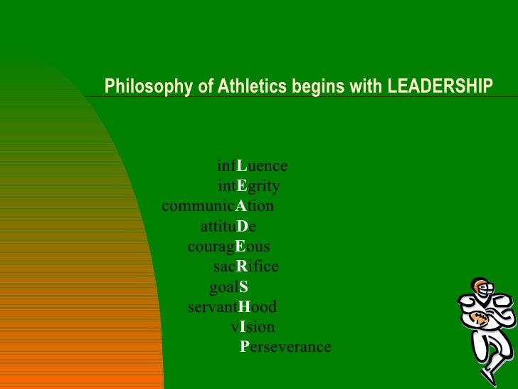 Philosophy of athletics begins with leadership