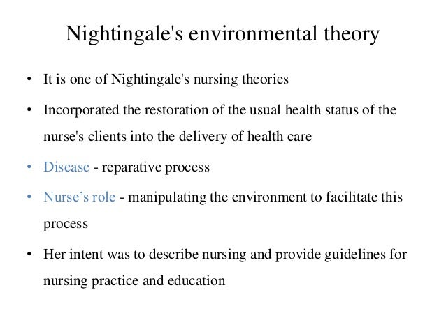 analysis of florence nightingale environment theory Theoretical framework nightingale's environmental theoryenvironmental theoretical framework we utilized florence nightingale's environmental theory and.