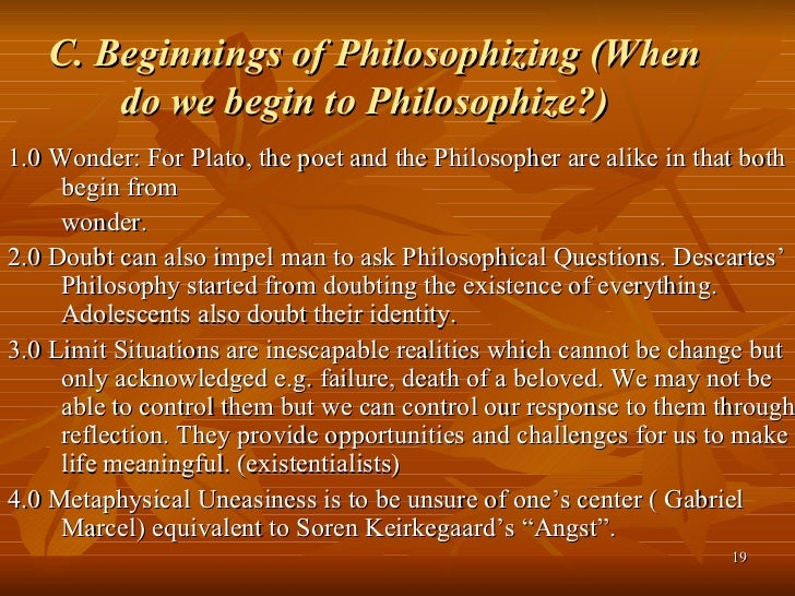 Where does Philosophy begin?