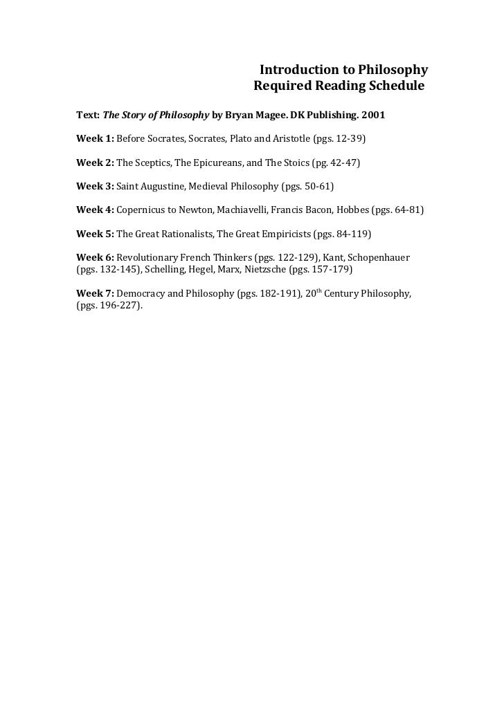 Introduction to Philosophy                                         Required Reading ScheduleText: The Story of Philosophy ...