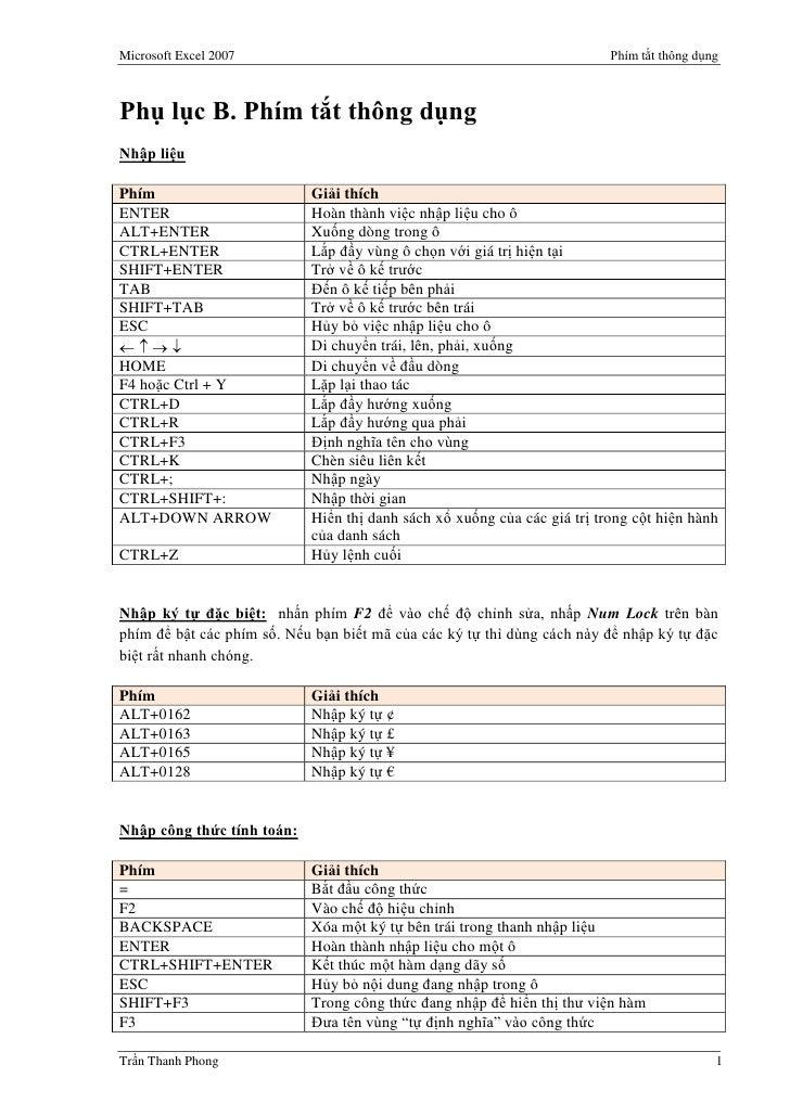 Microsoft Excel 2007                                                      Phím tắt thông dụng    Phụ lục B. Phím tắt thông...