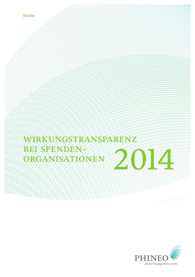 wirkungstransparenz bei spenden- organisationen 20142014 Studie