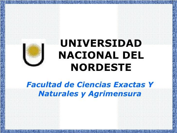 UNIVERSIDAD       NACIONAL DEL        NORDESTEFacultad de Ciencias Exactas Y  Naturales y Agrimensura