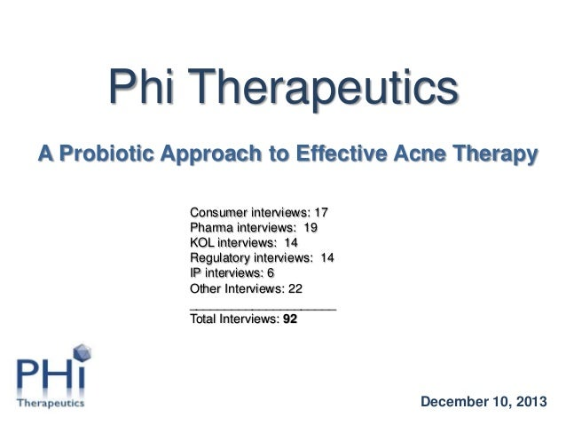Phi Therapeutics A Probiotic Approach to Effective Acne Therapy Consumer interviews: 17 Pharma interviews: 19 KOL intervie...