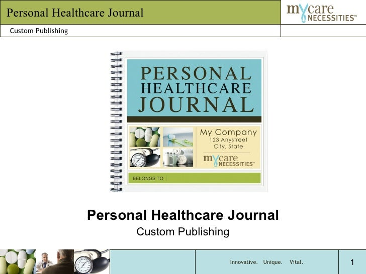 Personal Healthcare Journal Custom Publishing