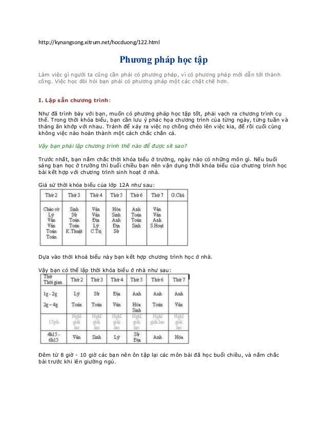 http://kynangsong.xitrum.net/hocduong/122.html                              Phương pháp học tậpLàm việc gì người ta cũng c...