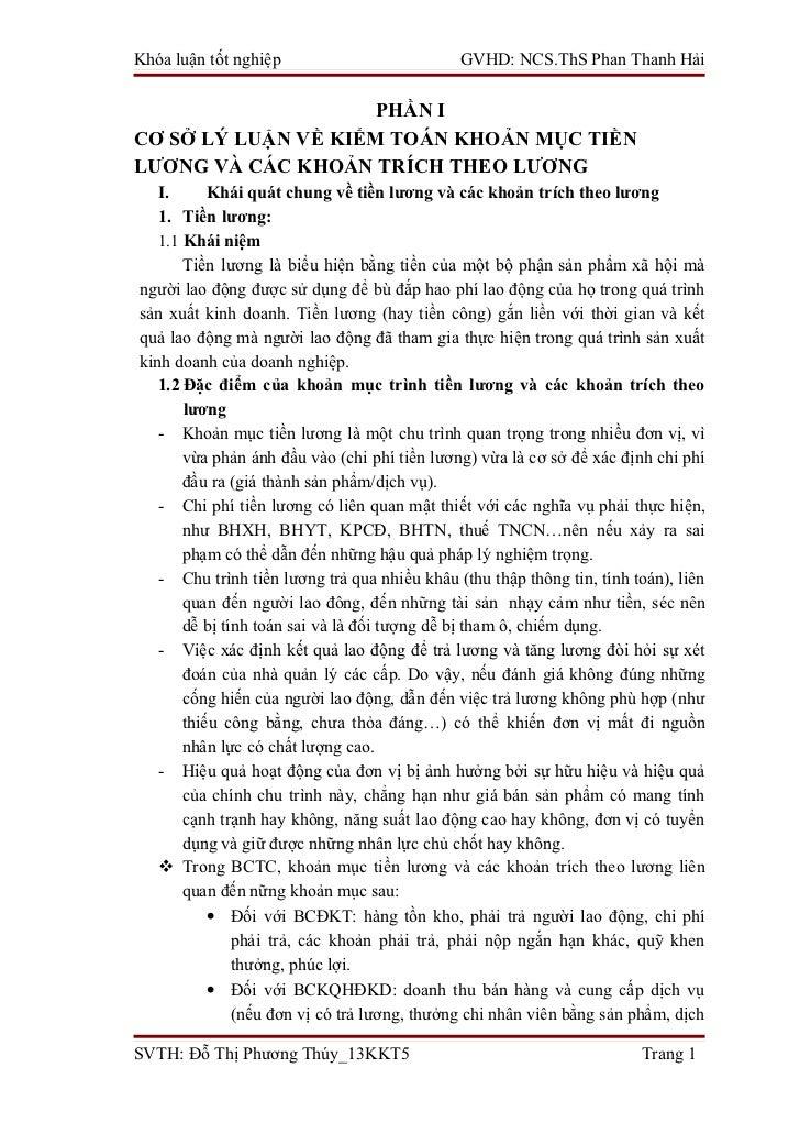 Khóa luận tốt nghiệp                          GVHD: NCS.ThS Phan Thanh Hải                     PHẦN ICƠ SỞ LÝ LUẬN VỀ KIỂM...