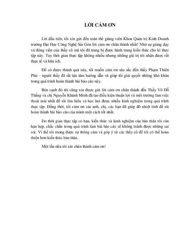 LỜI CẢM ƠN Lời đầu tiên, tôi xin gửi đến toàn thể giảng viên Khoa Quản trị Kinh Doanh trường Đại Học Công Nghê...