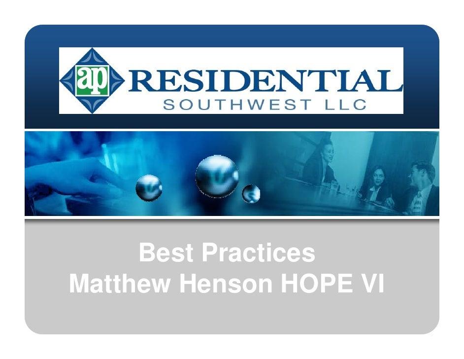 Best Practices Matthew Henson HOPE VI