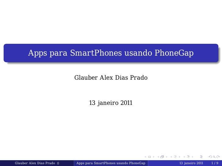 Apps para SmartPhones usando PhoneGap