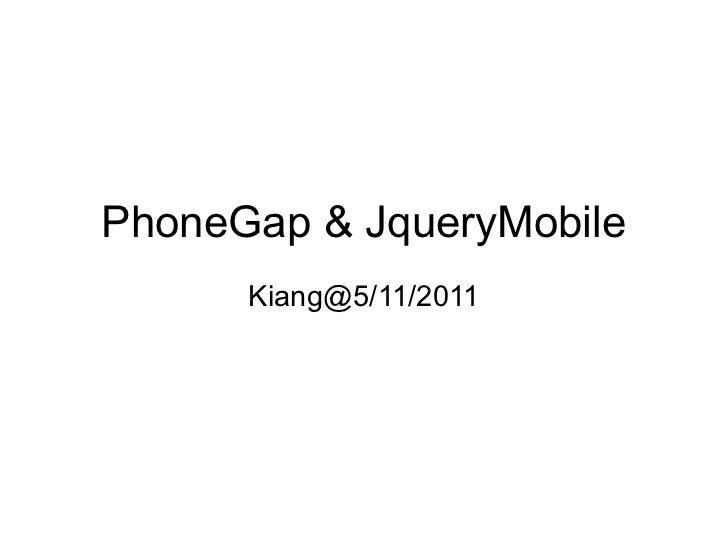 Phonegap & JqueryMobile