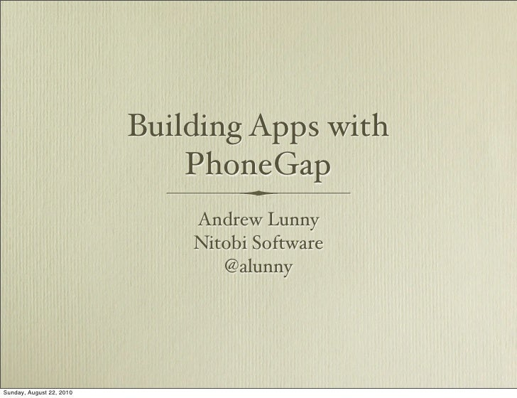 Building Apps with PhoneGap