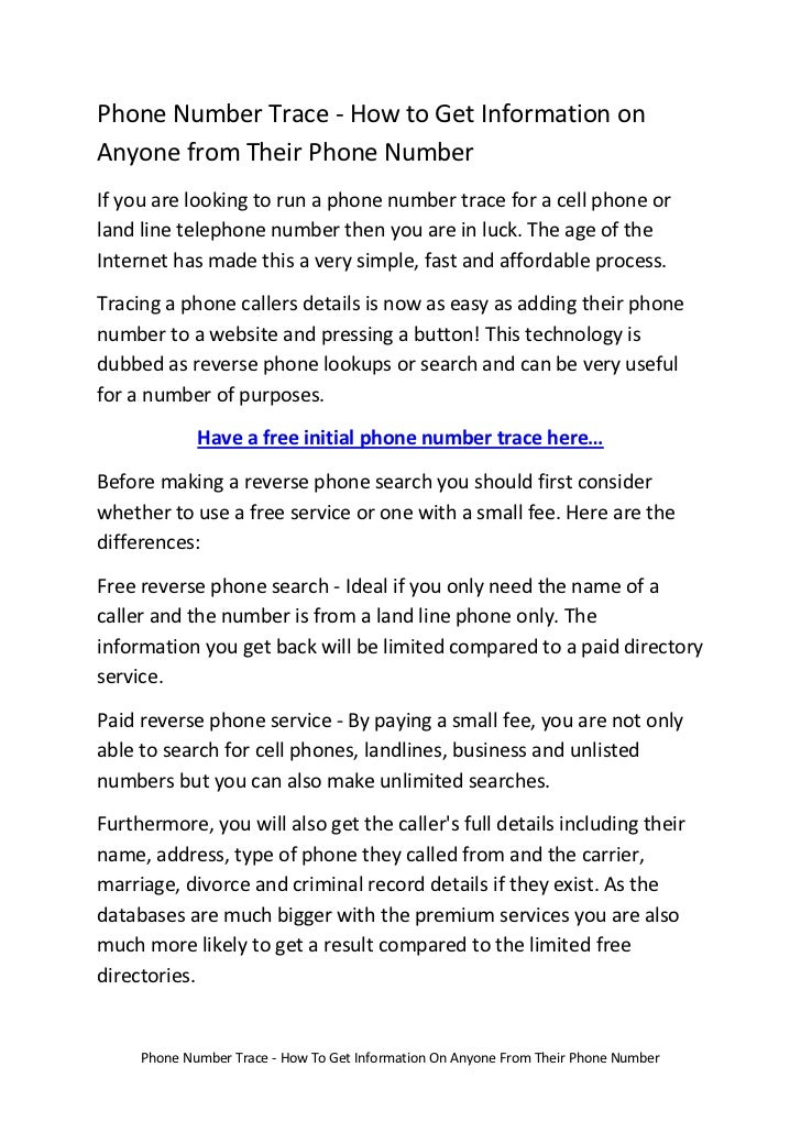 Phone Number Trace - How To Get Information On Anyone From Their Phone Number