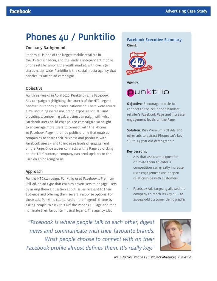 Advertising Case StudyPhones 4u / Punktilio                                               Facebook Executive Summary      ...