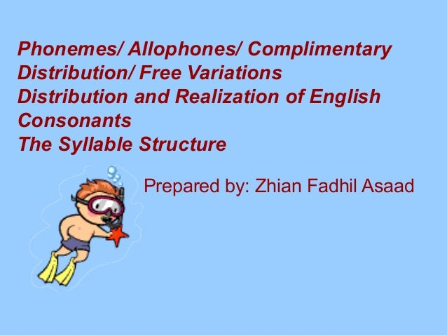 Phonemes/ Allophones/ Complimentary Distribution/ Free Variations Distribution and Realization of English Consonants The S...