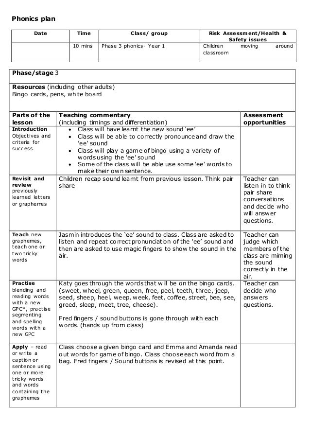 Phonics lesson plan phase 3