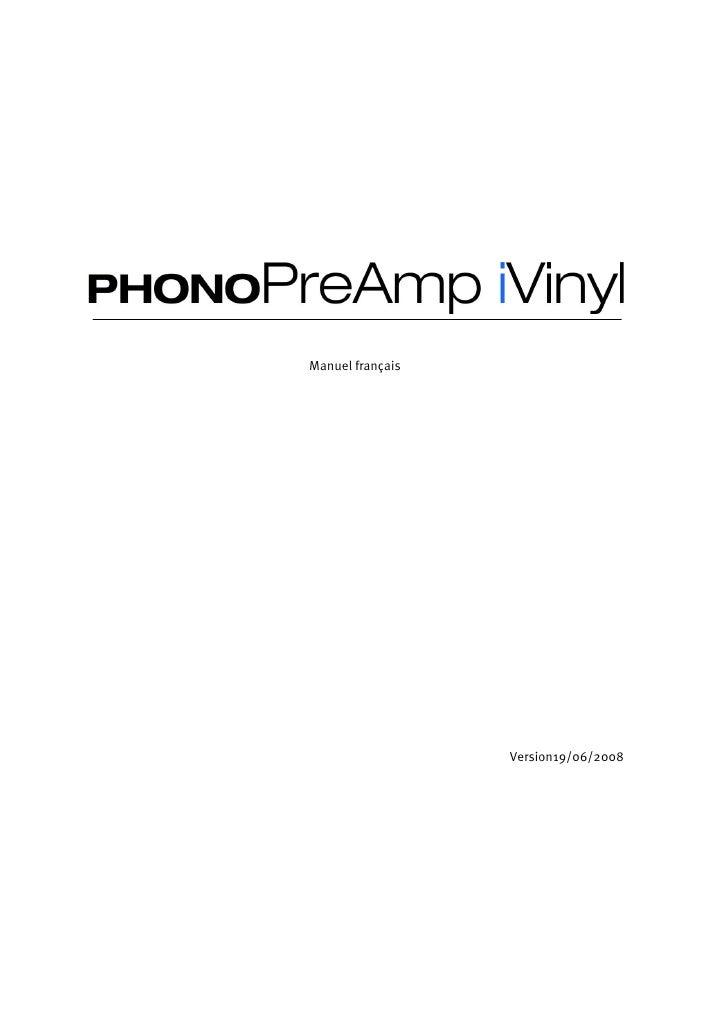 Phono Pre Amp I Vinyl Manual Fr