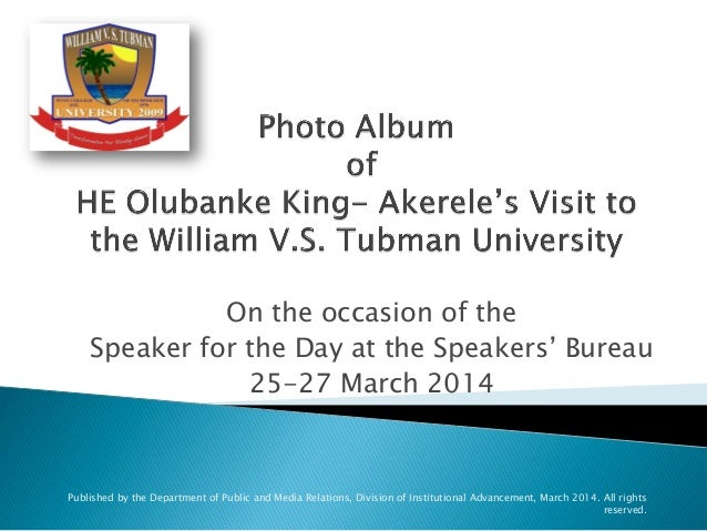 On the occasion of the Speaker for the Day at the Speakers' Bureau 25-27 March 2014 Published by the Department of Public ...
